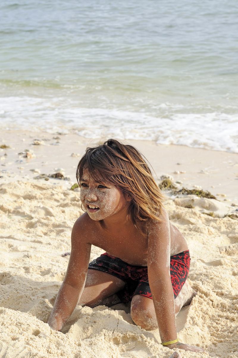 Sand im Gesicht